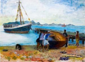 Beached on Petite Martinique - 40x30cm - Original Painting on Card