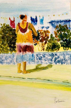 Washing Day - 20x30cm - Original Painting on Card