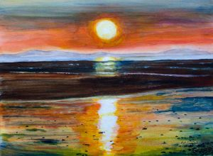 Solway Sunset - 40x30cm - Original Painting on Card