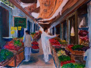 Skardu Street Market - 40x30cm - Acrylic on canvas weave.