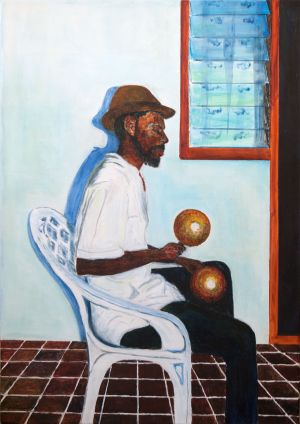 Boxing Day Serenader in Carriacou.    Acrylic on canvas. 50x70cm.