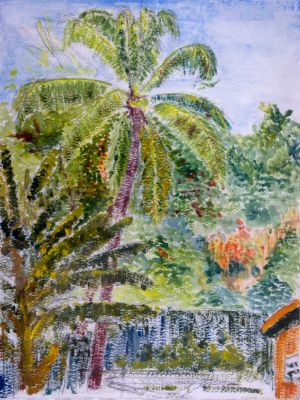 Gilkes Village Barbados - 20x30cm - Original Painting on Card
