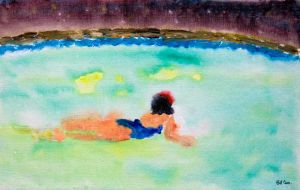 Midnight Swim - 30x20cm - Original Painting on Card