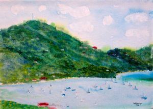Port Elizabeth Bequia - 40x30cm - Original Painting on Canvas Weave